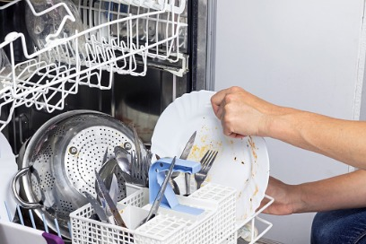 stacking the dishwasher
