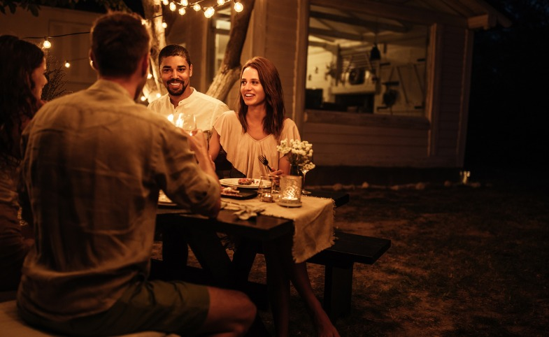 Outdoor Dinner Party at Night